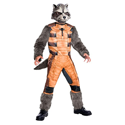 Guardians of the Galaxy Rocket Raccoon Marvel Superhelden Kinder Kostüm 2-tlg Overall Maske - (Rocket Maske Raccoon)
