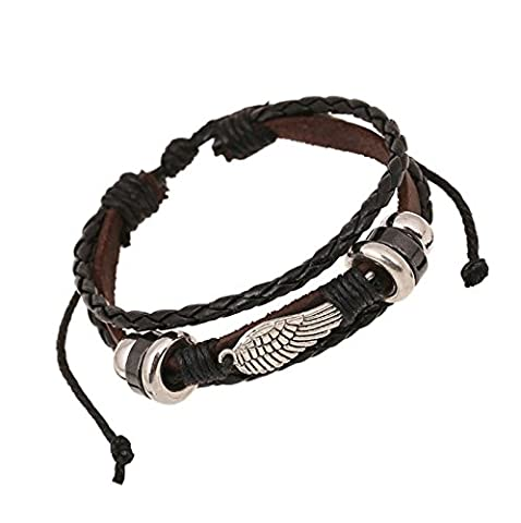 SanJiu Jewellery Men's Bracelet Alloy Genuine Leather Handmade Braided Leather Cord Bracelet with Angel Wings Multi-layer Wrap Surfer Wristband Wrap Adjustable Bracelet for Men Black