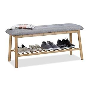 Relaxdays panca scarpiera per 4paia, panca imbottita per 2, confortevole scarpiera, grigio-naturale