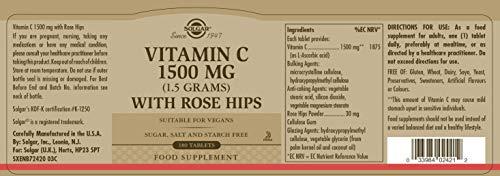 Solgar Vitamina C Rose Hips con escaramujo 1500 mg - 180 Comprimidos