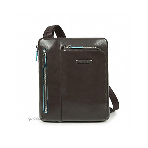 Borsello PIQUADRO GRIGIO porta iPad/iPad Air doppia tasca frontale tasca lettore mp3 passante per auricolari Blue Square 21,5x24,5x5cm borsello uomo tracolla regolabile PERSONALIZZABILE CON INCISIONE