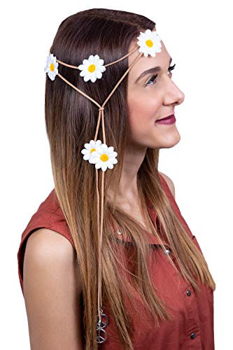 badb9c55a Marco Porta 70s Hippie Flower Power Theme Party Outfit Accessory Hair  Leather Band