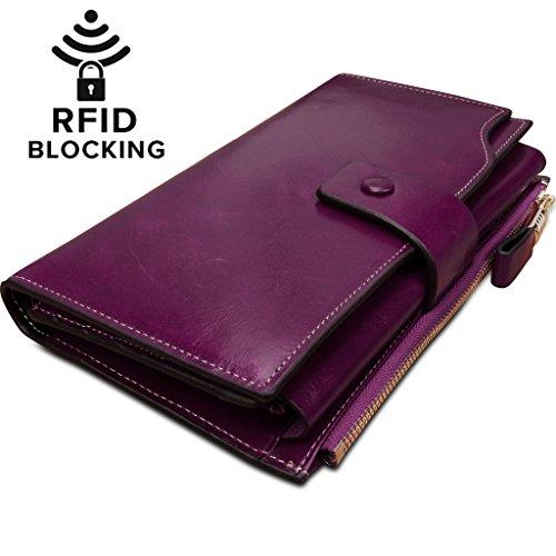 Yaluxe Femme Portefeuille Blocage RFID Grande Capacité Luxueux Cuir Véritable en Veau Ciré Parme