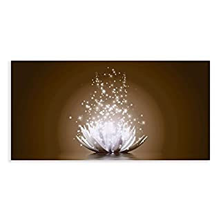 Artland Qualitätsbilder I Glasbilder Magie der Lotus-Blume Deko Glas Bilder 100x50 cm Botanik Blumen Seerose Digitale Kunst D8QJ braun
