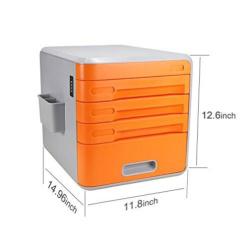 Escritorio de cajones  cajones sin ruedas  cajones de plástico con 4 cajones  Azul / Naranja / Cyan Cómoda de 4 cajones  Armedietto sin ruedas  armario de plástico  cajón de almacenamiento (Naranja A)