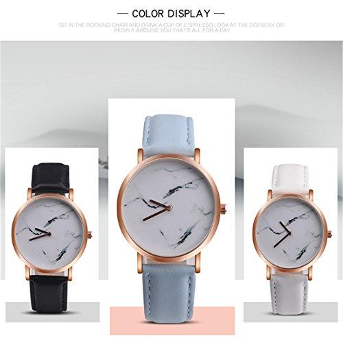 Souarts Damen Armbanduhr Einfach Stil Chic Marmor Muster dekor Studentenuhr Analoge Quarz Uhr mit Batterie Weiß