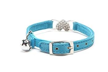 DAIXI Colliers De Chat avec Breloque Coeur Et Cristal en Cristal Bling Fournitures pour Animaux De Compagnie Bleu