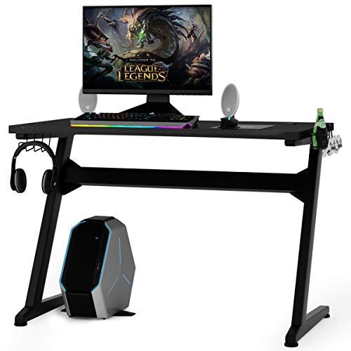 COSTWAY Gaming Tisch ergonomisch, Gaming Desk mit Mauspad, 2 Haken, Getränkehalter und Kopfhörerhalter, Schreibtisch PC, Computertisch schwarz