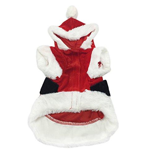 Dogge Kostüme Halloween (Weihnachtsmann Cosplay Hundekostüme mit Kapuze Haustier Weihnachtskleider Wintermantel Welpen Hundemantel Weiche Hundebekleidung Rot Mantel)