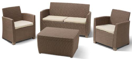 Allibert 212405 Lounge Set Corona mit Kissenbox-Tisch (2 Sessel, 1 Sofa, 1 Tisch), Rattanoptik,...