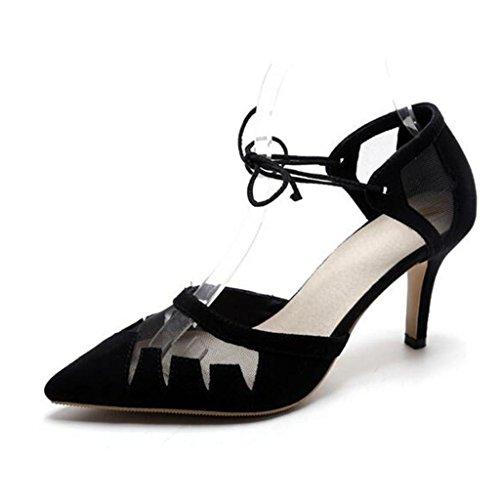 W&LM Pattini femminili di punta della cinghia della maglia Tacchi alti Pattini di cuoio genuini Black