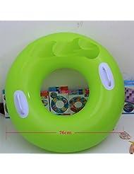 Los hombres y las mujeres engrosaron la boya de vida del círculo de natación con la boya inflable de la vida del círculo de la natación del adulto de la manija , green