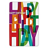 Bathroom Bath Rug Kitchen Floor Mat Carpet,Birthday Decorations,Vibrant Letters Scattered Broken Text Puzzle Like Display Graphic,Multicolor,Flannel Microfiber Non-Slip Soft Absorbent