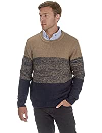 URBAN REVIVAL Mens Graduated Sweater Jumper Crew Neck Winter Warm 3 Colours