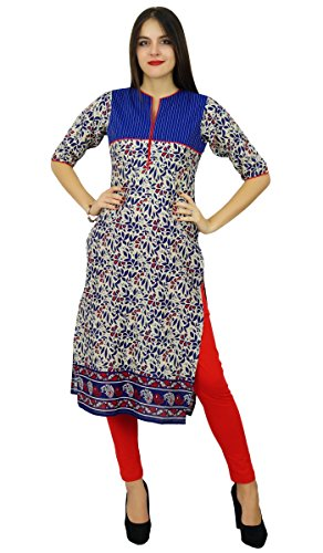 Bimba droites Kurti en dames imprimés kurta vêtements casual ethnique indienne Bleu