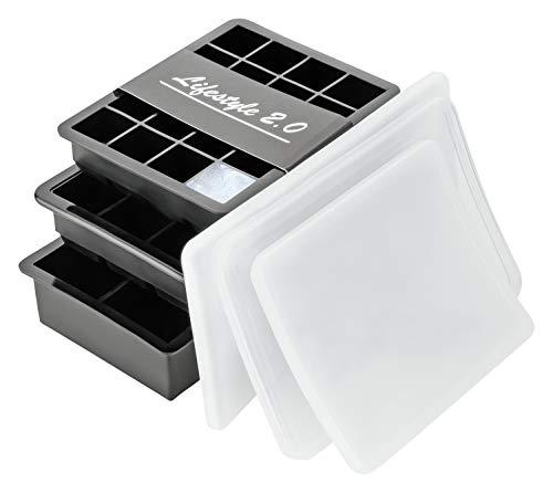 Lifestyle 2.0 Eiswürfelform Mit Deckel 3er Set Silikon-Formen Eiswürfelbehälter BPA-Frei Für Eiswürfel Klein Bis Groß (3 Deckel) -