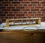 Zu Ostern, Hochzeit, Geburtstag Teelichthalter aus Altholz Holz von Obstkiste mit 4 Gläsern und Tau, Handgefertigt, Windlicht, Kerzenhalter, Laterne, Vintage, Upcycling - 4