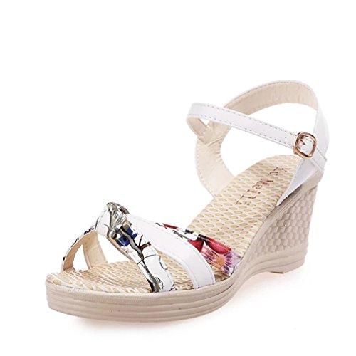 Vovotrade Damen Comfort Wedges Frau Keile Schuhe Sommer Sandalen Plattform Zehe Hochhackig Schuhe (EU Size:38, White) (Plattform-schuh -)