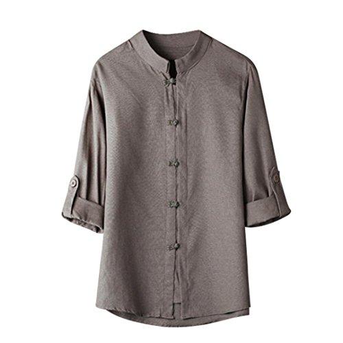 UJUNAOR Männer Klassischer chinesischer Stil Kung Fu Hemd Tops Tang-Anzug 3/4 Ärmel Leinen Bluse(EU L/CN XL,Grau) Button-down Trench Coat