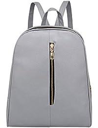 Fenebort Double-Shoulder Donna Moda zaino in pelle Donna Preppy Style  Zipper Mochila School Bag 9f8701256d4
