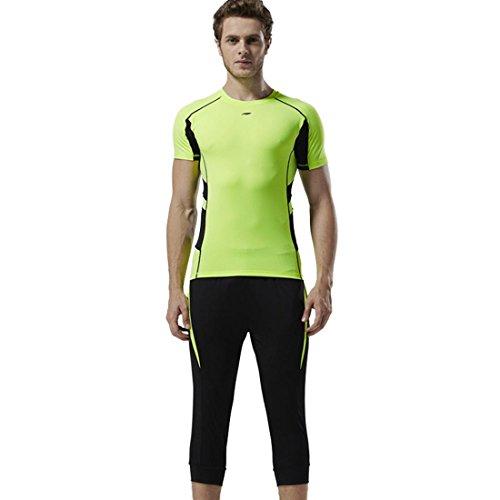 Set da 3 pezzi in T-Shirt e pantaloni sportivi a compressione Fitness Quick Dry da uomo per palestra e corsa Sport all'aria aperta E