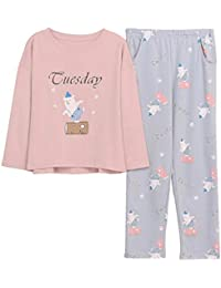 Meaeo New Pink Loose Cartoon Print Bear Homewear Conjuntos De Pijama Women Girls Set De Pijama