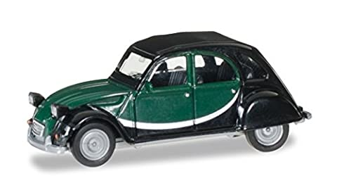 Citroen 2CV Charleston, noire/vert foncé, 0, voiture miniature, Miniature déjà montée, Herpa 1:87