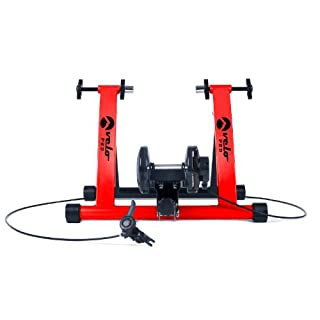 Velo Pro Magnetic Turbo Trainer - Variable Resistance Indoor Bike Trainer for Road & Mountain Bicycles (Red)