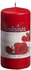 Idea Regalo - Bolsius 871784 Cero cilindrico profumato, Cera, Rosa, h 12cm Ø6cm