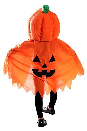 Seruna Jo02/00 Kürbis Cape Kostüm für Halloween, Kostüme für Kinder, Faschingskostüm, Karnevalkostüm