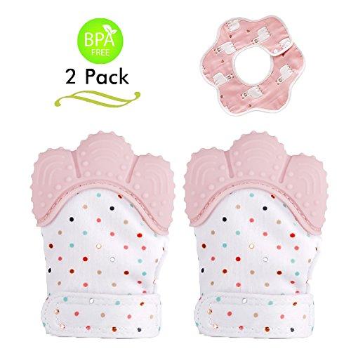 Baby Beißringe Fäustlinge Set Neugeborenen Silikon Schnuller 2 Stück Handschuh Beissringe Spielzeug und 1 Lätzchen für Baby zum Zahnen für Alter 3-12 Monate (Rosa) (3 4 Klettband)