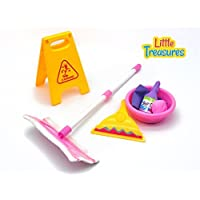 Little Treasures Little Helper 7 piece pretend and play Cleaning Play Set with floor mop, squeegee, soap, detergent, basin, towel and wet floor warning sign