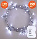 Fairy Lights 100 LED 10m Bright/Cool White Timer Indoor Outdoor Christmas Lights Festive Wedding Bedroom Novelty Decorations Tree String Lights Battery Powered 32ft Lit Length Clear Cable