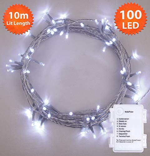 Luces Navidad, luces hadas 100 LED Blanco brillante