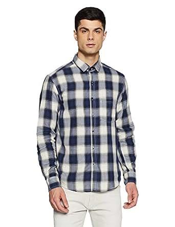 Diverse Men's Checkered Regular Fit Casual Shirt (DVC07C2L02-154A_Blue/White_X-Large)