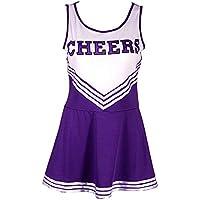 Greetuny 1pcs Cheerleading Uniform Sin Mangas 4 Colores Raya Slim Fit Vestido High School Musical Animadora Disfraz Traje (L, Morado)