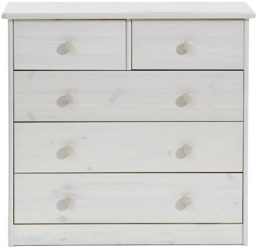 Steens 17801213 Mario Kommode, 3 breite, 2 kleine Schubladen, 78 x 73 x 34 cm (B/H/T), Kiefer massiv, weiß