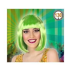 Atosa-43317 Peluca Media Melena Flequillo, color verde, única (43317)