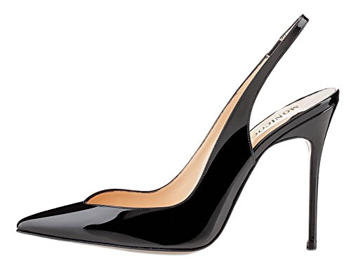 Slingback Heels (MONICOCO Übergröße High Heels Damenschuhe Lackleder Spitze Zehen Slingback Pumps mit Gummiband Schwarz38 EU)