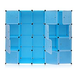 Cartknights Armoire Penderie 20 Cube Portable Étagère de Rangement Garde-Robe de Rangement avec 2 Tige Suspendue pour Vêtements Chaussures Jouets Accessoires