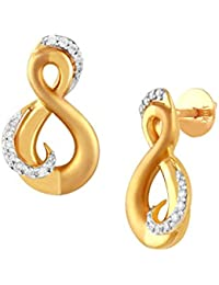 TBZ The Original 18KT Yellow Gold and Diamond Stud Earrings for Women