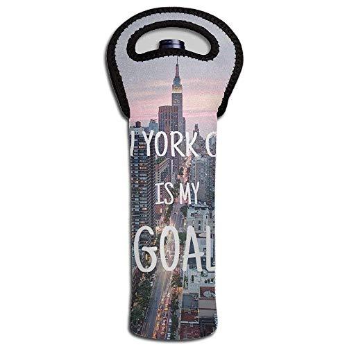 Single Bottle Neoprene Wine Tote New York City Is My Goal Water Bottle Carrier Holder Bag Design1