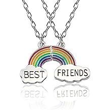 Collar Mingjun para mejores amigos, joyería de moda para mujer, collar arcoíris de buena