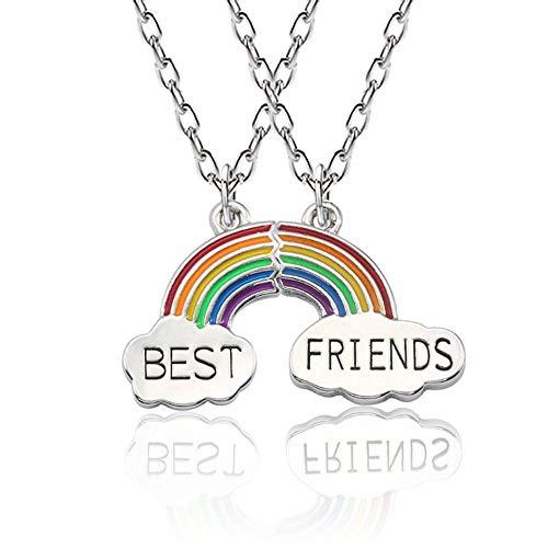 Collar Mingjun para mejores amigos, joyería de moda para mujer, collar arcoíris de buena amistad, collar de empalme de 2 nubes