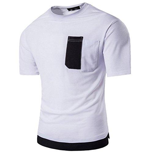 TUDUZ Oversize Herren Sommer Kurzarm Slim-Fit Rundhals-Ausschnitt Basic T-Shirt Patchwork Muskel Pullover (Lustige Selbstgemachte Halloween Kostüme)