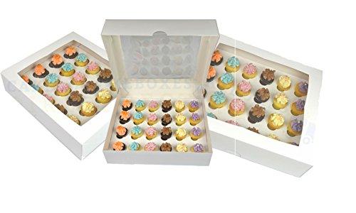 Box für 24Cupcakes mit Fenster und Trennwand (5Pack) 1. Klasse Post (Mini-cupcake-box)