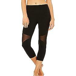 FITTOO Pantalones Deportivos 3/4 de Entrenamiento Deportivo para Mujeres con 3/4 Leggings deportivos190#4 Negro Medium