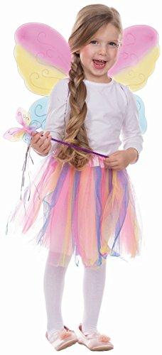 Kinder Kostüm Zubehör Regenbogen Schmetterling Karneval (Regenbogen Schmetterlings Kostüm)