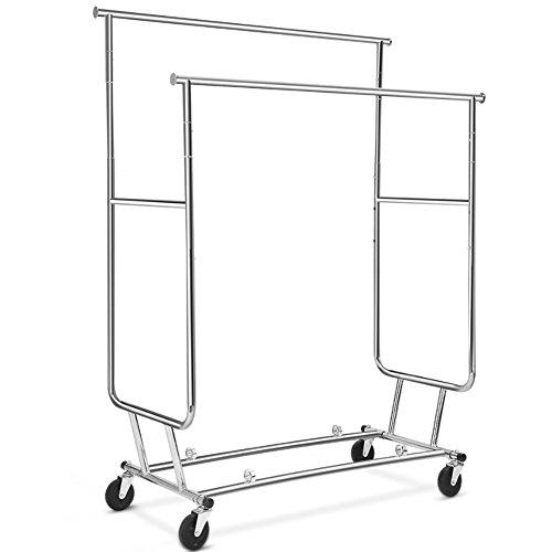 Bakaji stand appendiabiti doppio regolabile in acciaio ripiegabile facile da montare con 4 ruote portata max fino a 250 kg, stander esposizione negozio, appendiabiti professionale acciaio pieghevole
