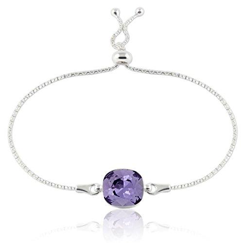 """Crystals & stones braccialetto regolabile """"square"""", in argento 925con swarovski® elements originali, splendido braccialetto da donna, con scatola per gioielli e argento, colore: tanzanite, cod. 7"""